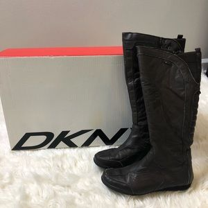 DKNY Boots Brown zip up knee high leather